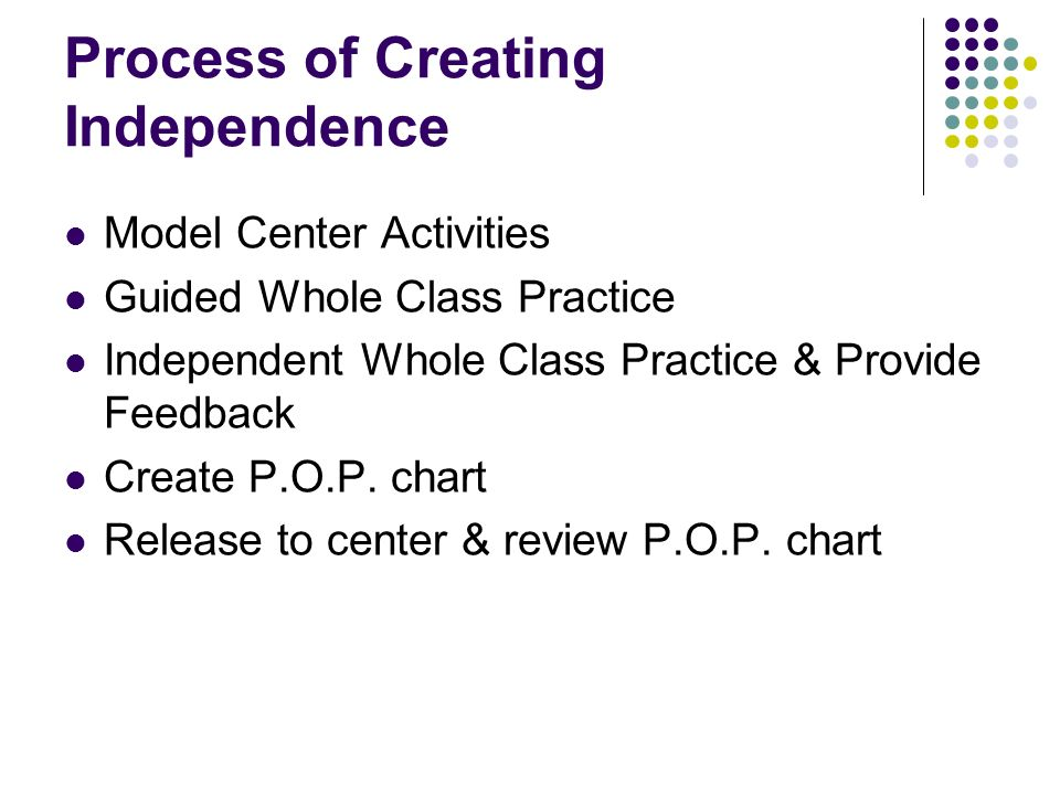 Process of Creating Independence Model Center Activities Guided Whole Class Practice Independent Whole Class Practice & Provide Feedback Create P.O.P.