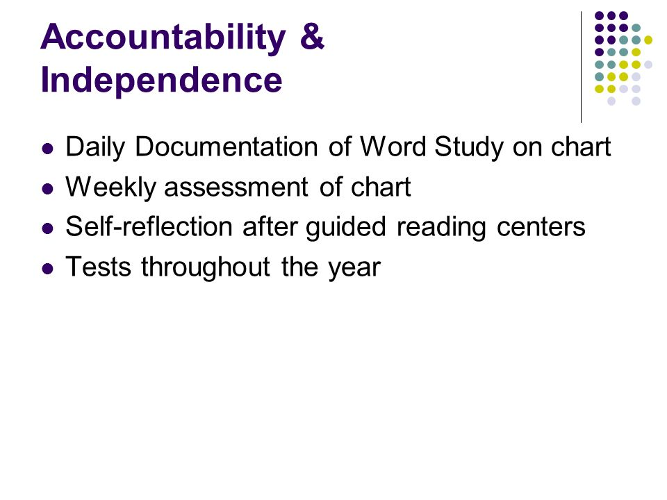 Accountability & Independence Daily Documentation of Word Study on chart Weekly assessment of chart Self-reflection after guided reading centers Tests