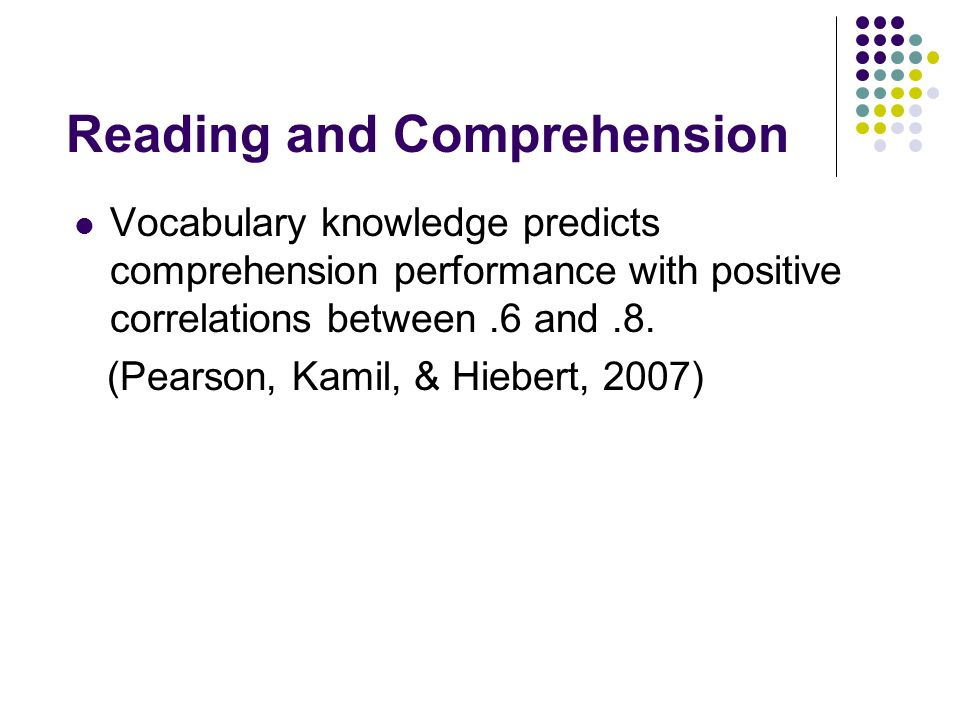 Relationship between vocabulary and reading comprehension General Aptitude Hypothesis General Knowledge Hypothesis Instrumentalist Hypothesis