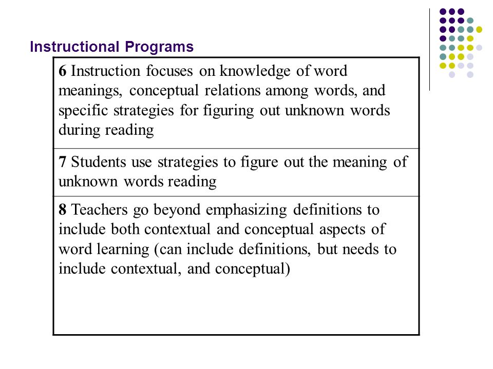 Instructional Programs 6 Instruction focuses on knowledge of word meanings, conceptual relations among words, and specific strategies for figuring out