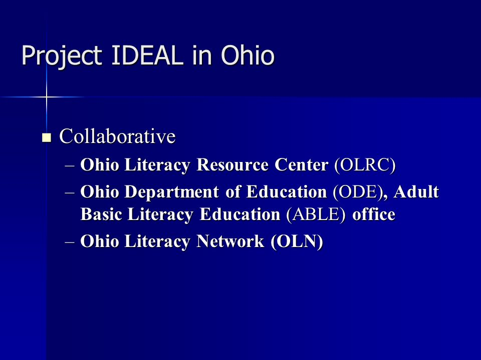 Project IDEAL in Ohio Purpose Purpose –To implement distance instruction Goal Goal –To develop and expand services beyond the classroom using GED Connection curriculum