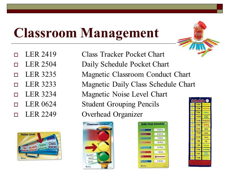 Classroom Management LER 2419Class Tracker Pocket Chart LER 2504Daily Schedule Pocket Chart LER 3235Magnetic Classroom Conduct Chart LER 3233Magnetic