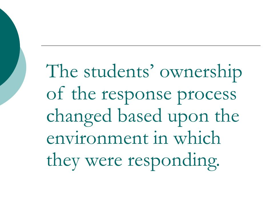 The students ownership of the response process changed based upon the environment in which they were responding.