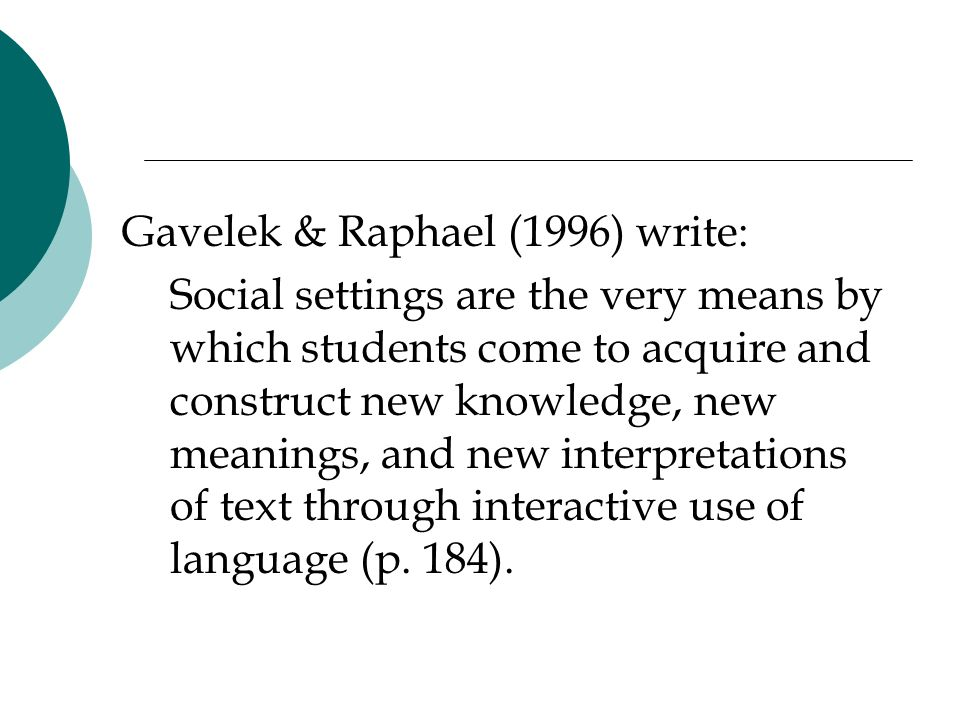 Gavelek & Raphael (1996) write: Social settings are the very means by which students come to acquire and construct new knowledge, new meanings, and new interpretations of text through interactive use of language (p.