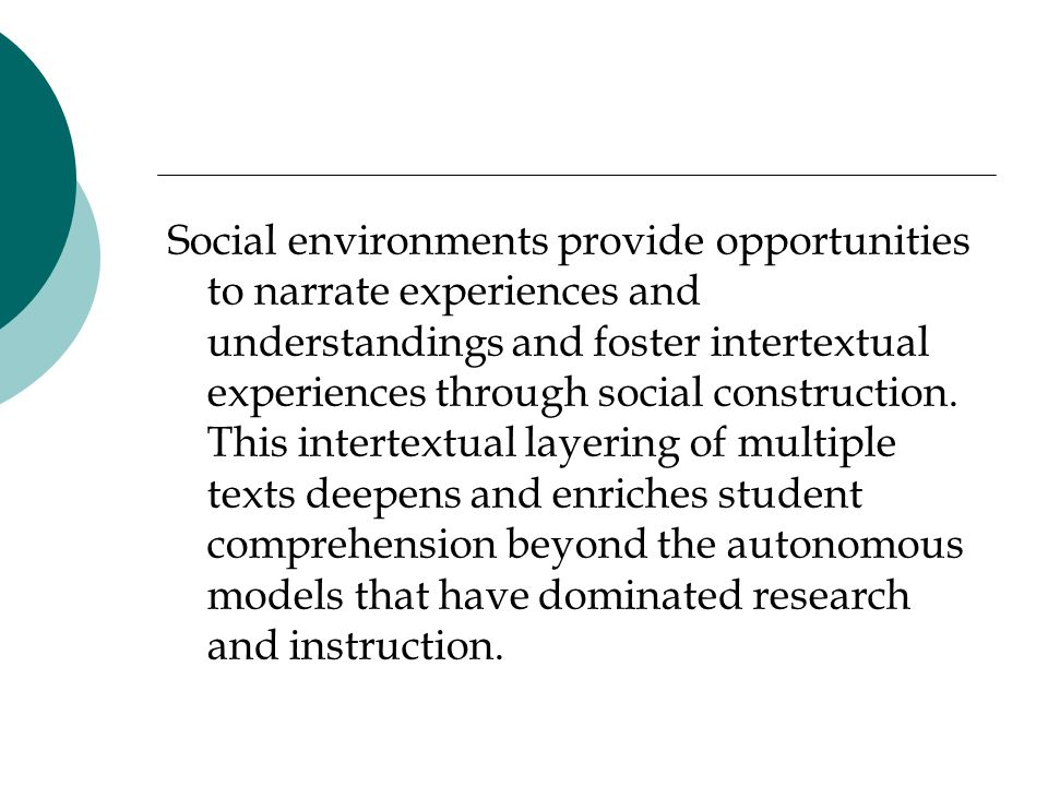 Social environments provide opportunities to narrate experiences and understandings and foster intertextual experiences through social construction. T