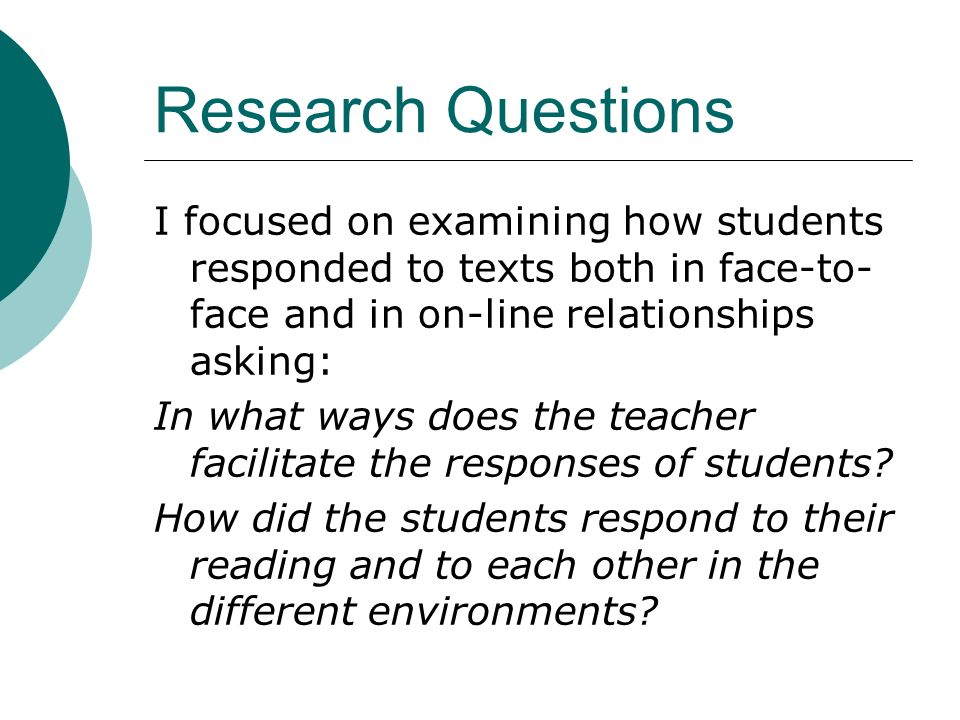 Research Questions I focused on examining how students responded to texts both in face-to- face and in on-line relationships asking: In what ways does the teacher facilitate the responses of students.