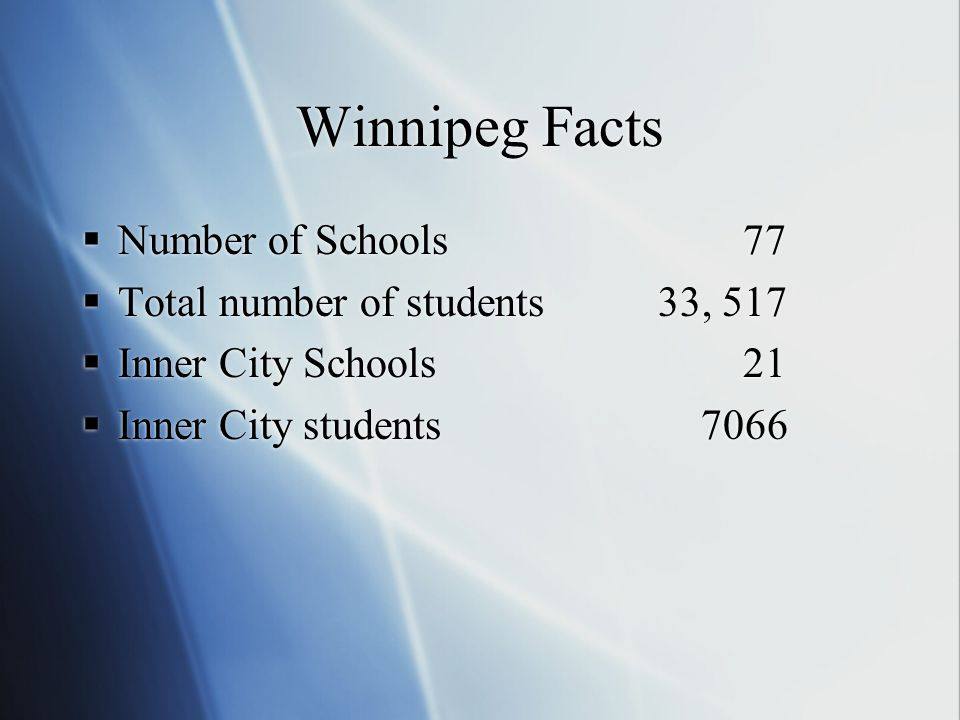 Winnipeg Facts Number of Schools 77 Total number of students33, 517 Inner City Schools 21 Inner City students 7066 Number of Schools 77 Total number of students33, 517 Inner City Schools 21 Inner City students 7066