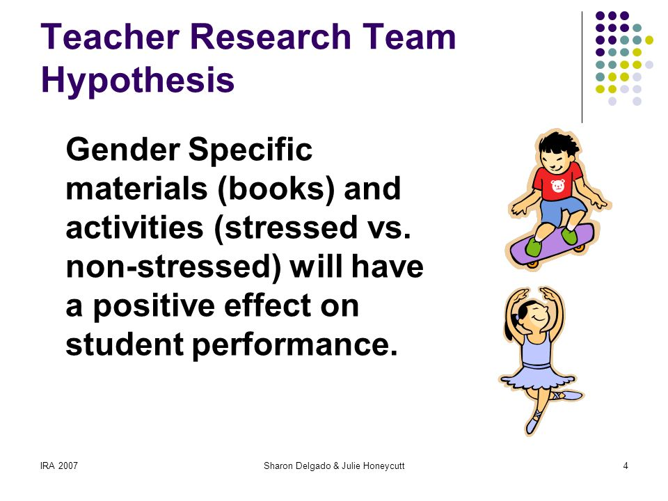 IRA 2007Sharon Delgado & Julie Honeycutt4 Teacher Research Team Hypothesis Gender Specific materials (books) and activities (stressed vs.