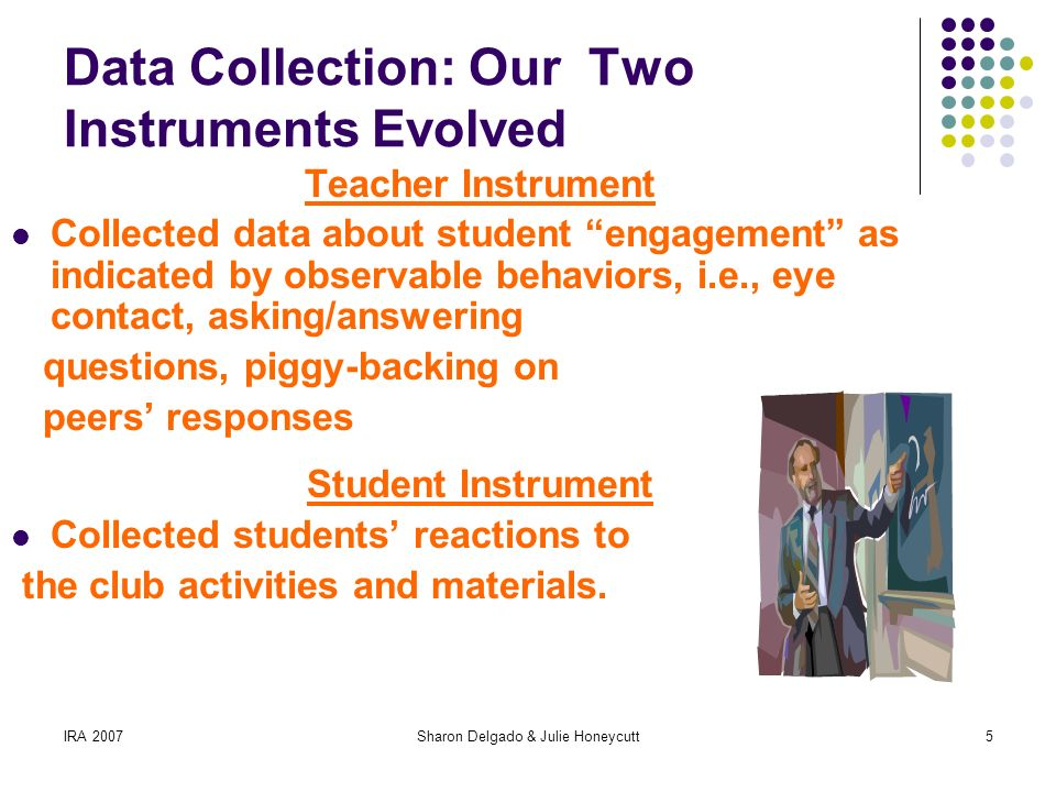 IRA 2007Sharon Delgado & Julie Honeycutt5 Data Collection: Our Two Instruments Evolved Teacher Instrument Collected data about student engagement as indicated by observable behaviors, i.e., eye contact, asking/answering questions, piggy-backing on peers responses Student Instrument Collected students reactions to the club activities and materials.