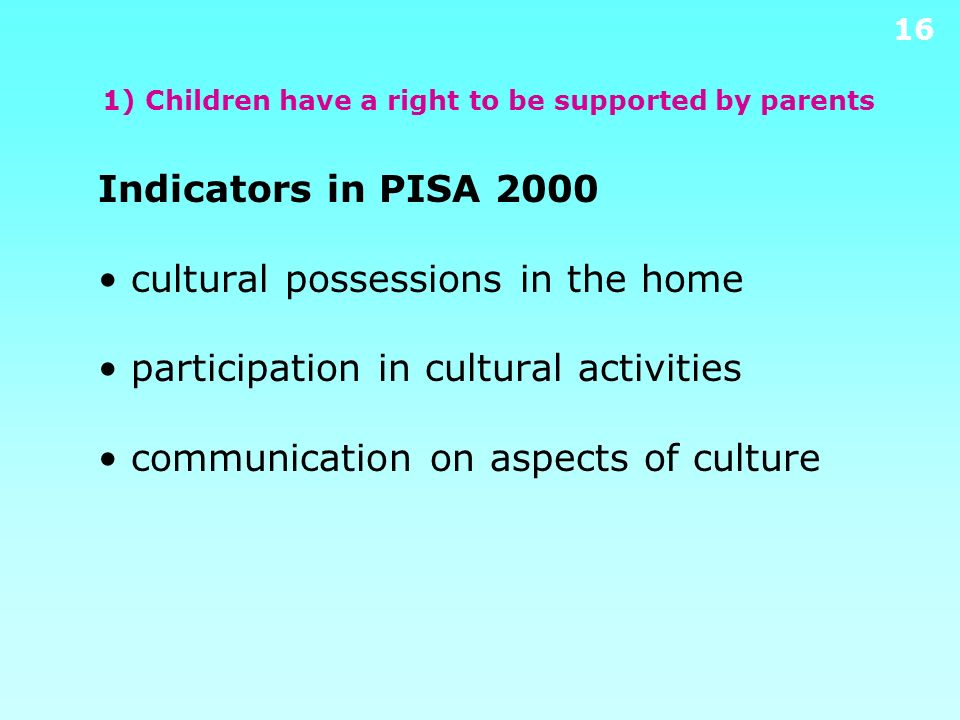 15 1) Children have a right to be supported by parents Results from PIRLS 2001 (% of students) High level of home educational resources United States