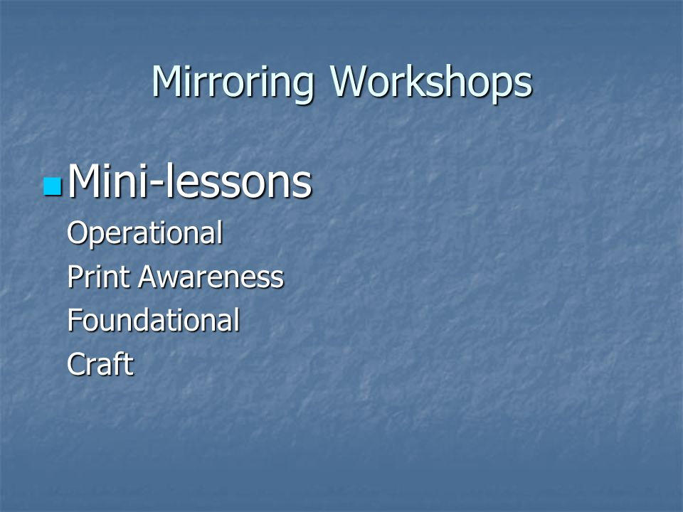 Mirroring Workshops Mini-lessons Mini-lessonsOperational Print Awareness FoundationalCraft