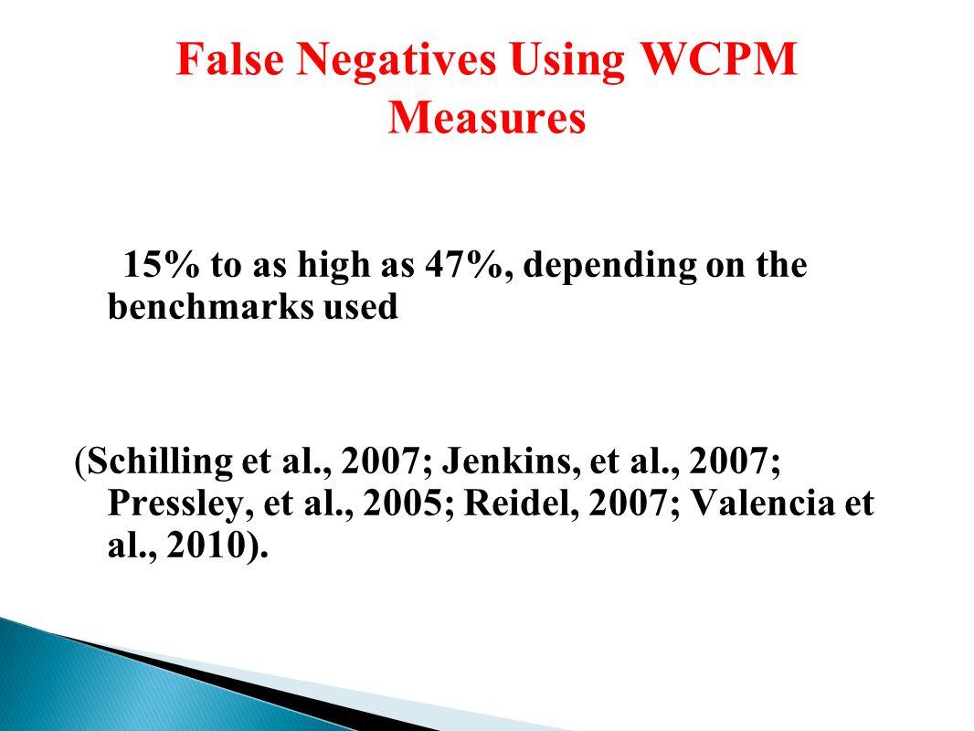 False Negatives Using WCPM Measures 15% to as high as 47%, depending on the benchmarks used (Schilling et al., 2007; Jenkins, et al., 2007; Pressley, et al., 2005; Reidel, 2007; Valencia et al., 2010).
