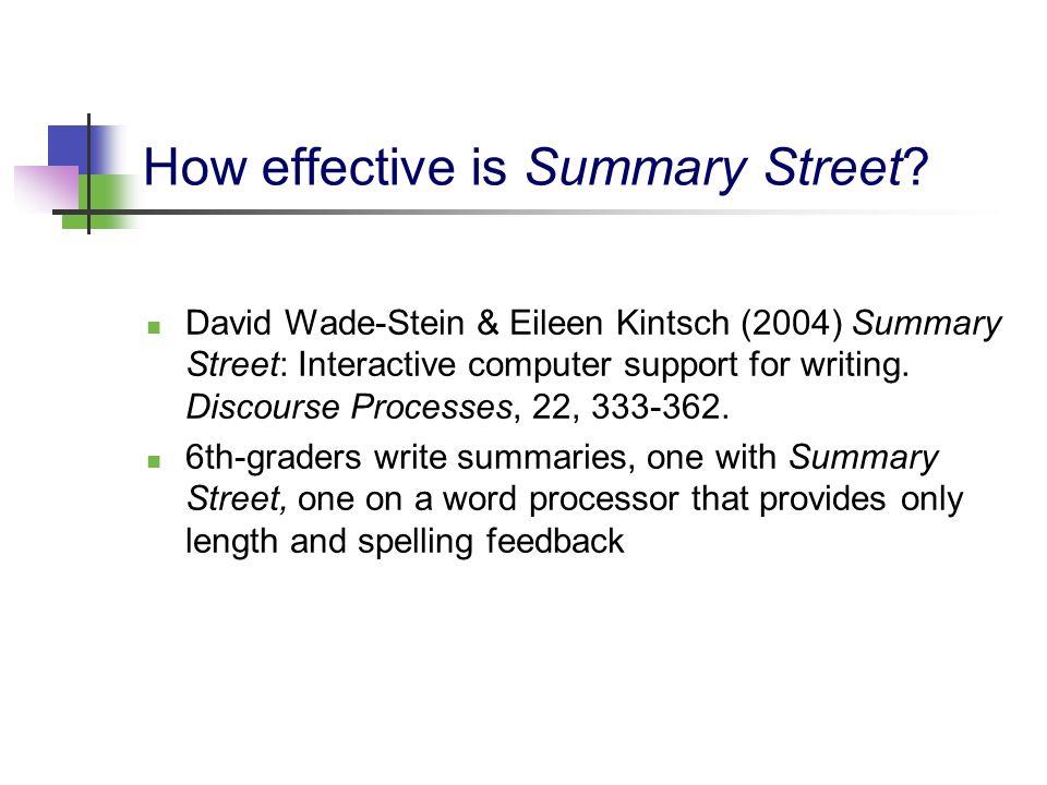 How effective is Summary Street? David Wade-Stein & Eileen Kintsch (2004) Summary Street: Interactive computer support for writing. Discourse Processe