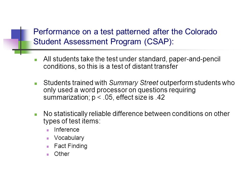 Performance on a test patterned after the Colorado Student Assessment Program (CSAP): All students take the test under standard, paper-and-pencil cond