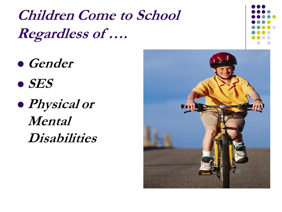 Children Come to School Regardless of …. Gender SES Physical or Mental Disabilities