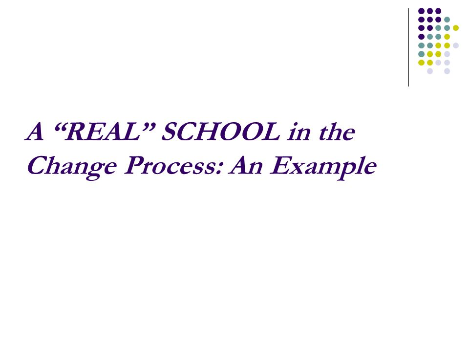 A REAL SCHOOL in the Change Process: An Example