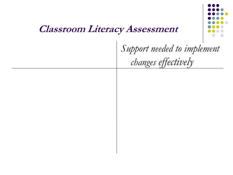 Classroom Literacy Assessment Support needed to implement changes effectively