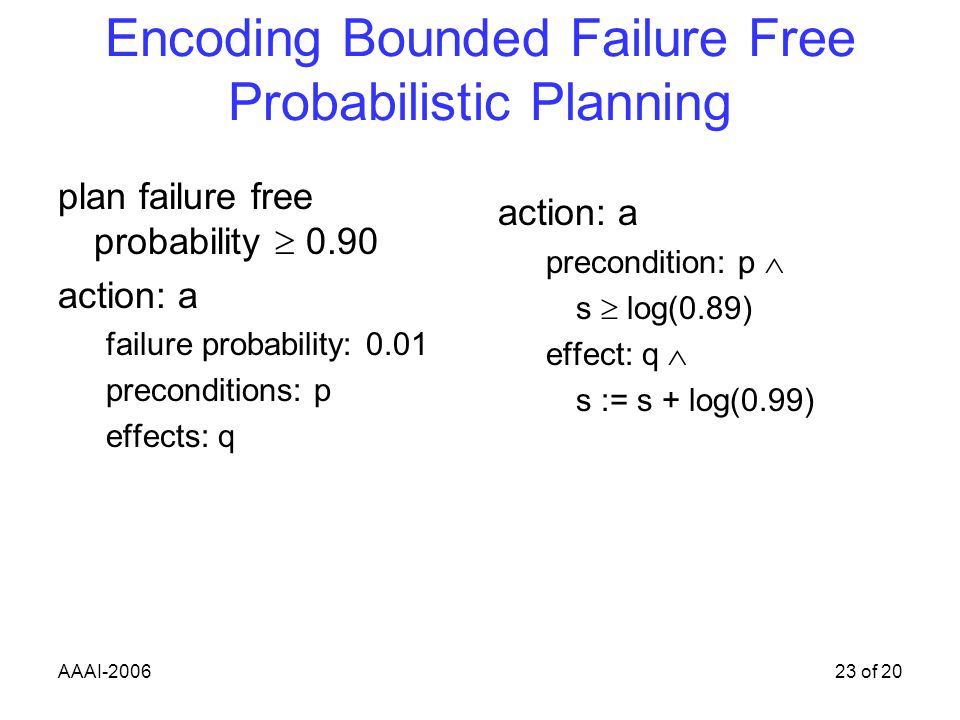 AAAI-200623 of 20 Encoding Bounded Failure Free Probabilistic Planning plan failure free probability 0.90 action: a failure probability: 0.01 preconditions: p effects: q action: a precondition: p s log(0.89) effect: q s := s + log(0.99)