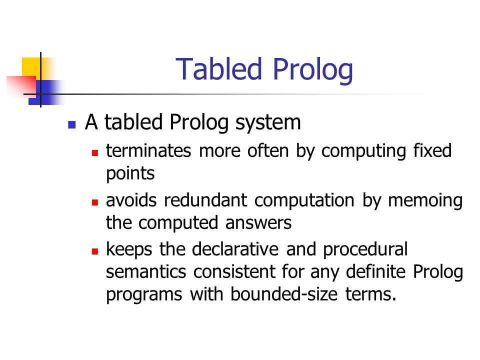 Tabled Prolog A tabled Prolog system terminates more often by computing fixed points avoids redundant computation by memoing the computed answers keeps the declarative and procedural semantics consistent for any definite Prolog programs with bounded-size terms.