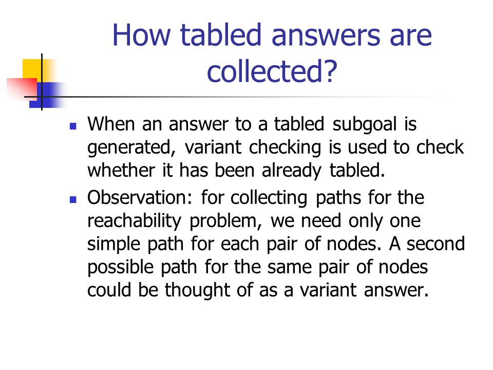 How tabled answers are collected? When an answer to a tabled subgoal is generated, variant checking is used to check whether it has been already table