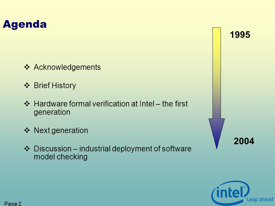 Page 2 Agenda Acknowledgements Brief History Hardware formal verification at Intel – the first generation Next generation Discussion – industrial deployment of software model checking