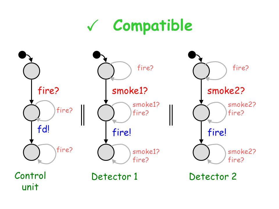 X Compatible fire. fd. smoke1. fire. Control unit Detector 1 smoke1.