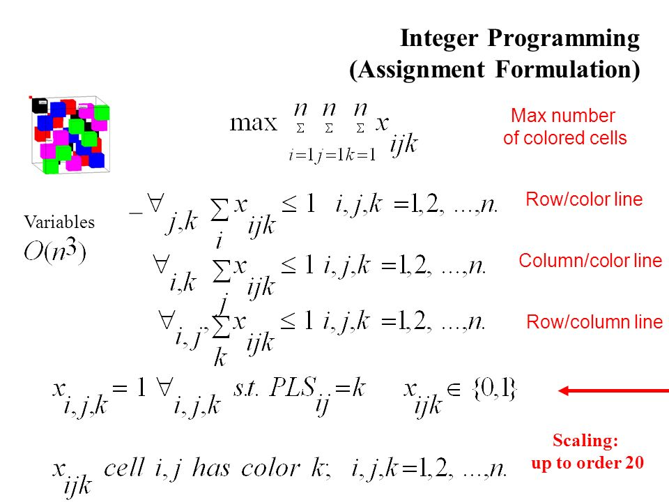 Integer Programming (Assignment Formulation) – Row/color line Column/color line Row/column line Max number of colored cells Scaling: up to order 20 Variables
