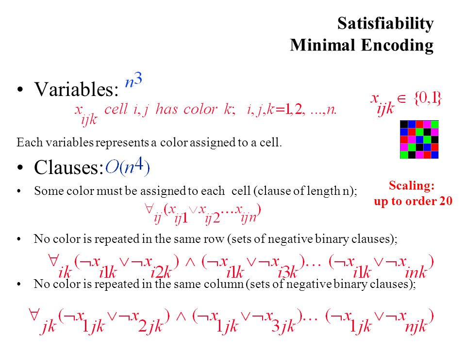 Satisfiability Minimal Encoding Variables: Each variables represents a color assigned to a cell.