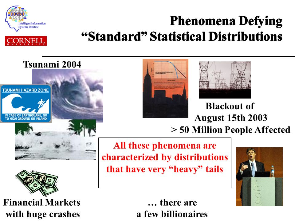 Phenomena Defying Standard Statistical Distributions Tsunami 2004 Blackout of August 15th 2003 > 50 Million People Affected Financial Markets with huge crashes … there are a few billionaires All these phenomena are characterized by distributions that have very heavy tails