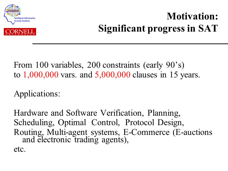 From 100 variables, 200 constraints (early 90s) to 1,000,000 vars.