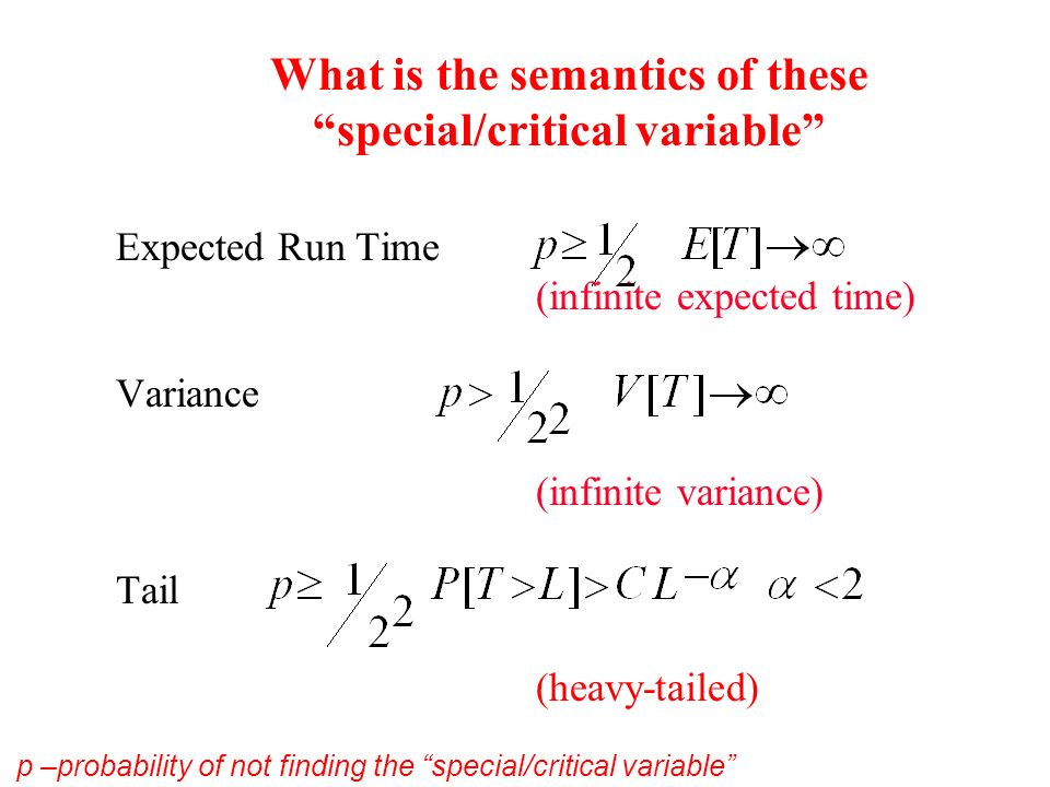 What is the semantics of these special/critical variable Expected Run Time (infinite expected time) Variance (infinite variance) Tail (heavy-tailed) p –probability of not finding the special/critical variable