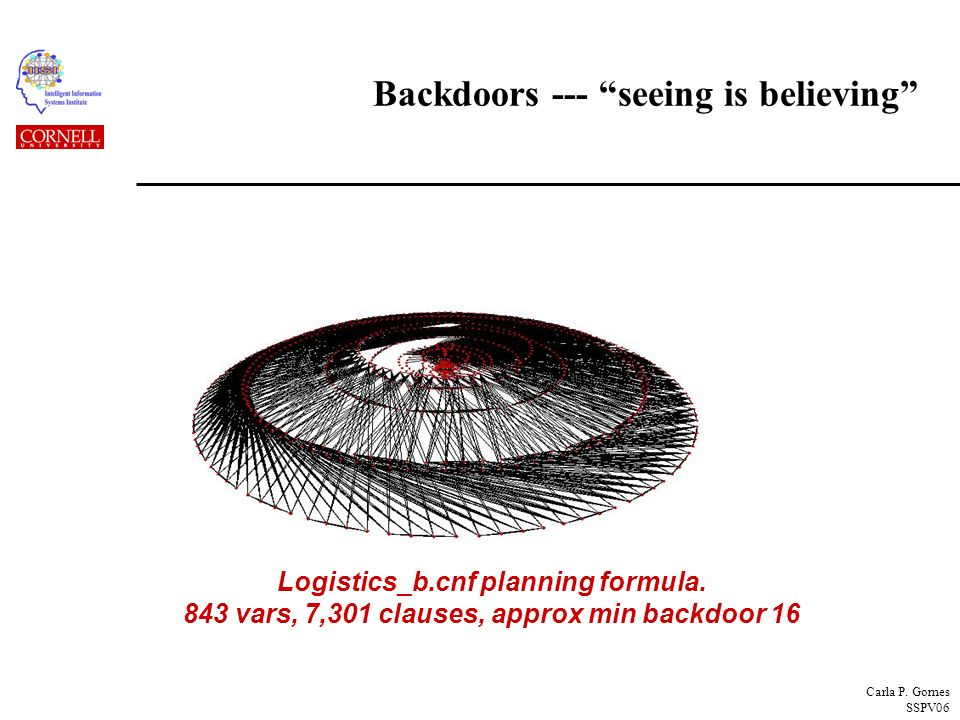 Carla P. Gomes SSPV06 Backdoors --- seeing is believing Logistics_b.cnf planning formula.