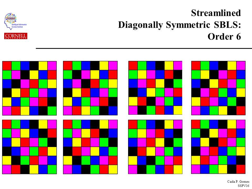 Carla P. Gomes SSPV06 Streamlined Diagonally Symmetric SBLS: Order 6