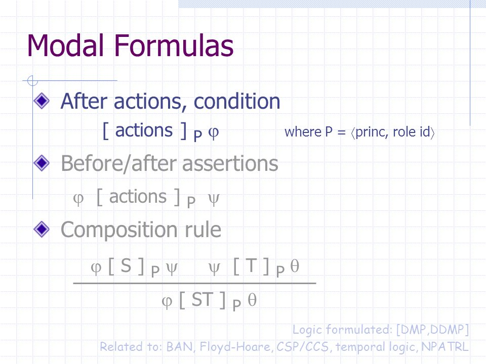 Modal Formulas After actions, condition [ actions ] P where P = princ, role id Before/after assertions [ actions ] P Composition rule [ S ] P [ T ] P [ ST ] P Logic formulated: [DMP,DDMP] Related to: BAN, Floyd-Hoare, CSP/CCS, temporal logic, NPATRL