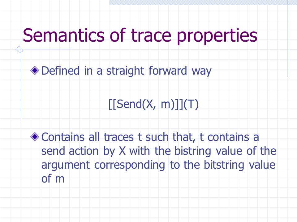 Semantics of trace properties Defined in a straight forward way [[Send(X, m)]](T) Contains all traces t such that, t contains a send action by X with the bistring value of the argument corresponding to the bitstring value of m