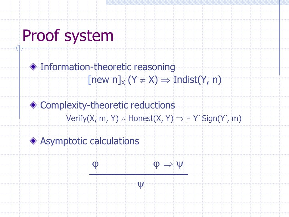 Proof system Information-theoretic reasoning [new n] X (Y X) Indist(Y, n) Complexity-theoretic reductions Verify(X, m, Y) Honest(X, Y) Y Sign(Y, m) Asymptotic calculations