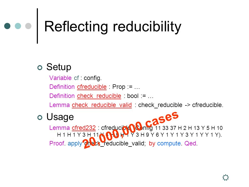 Reflecting reducibility Setup Variable cf : config.