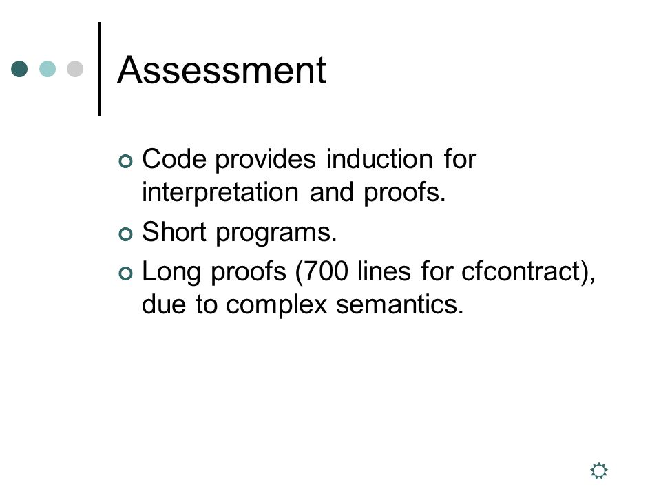 Assessment Code provides induction for interpretation and proofs.