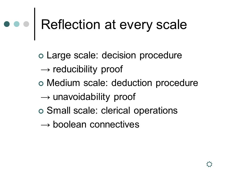 Reflection at every scale Large scale: decision procedure reducibility proof Medium scale: deduction procedure unavoidability proof Small scale: clerical operations boolean connectives