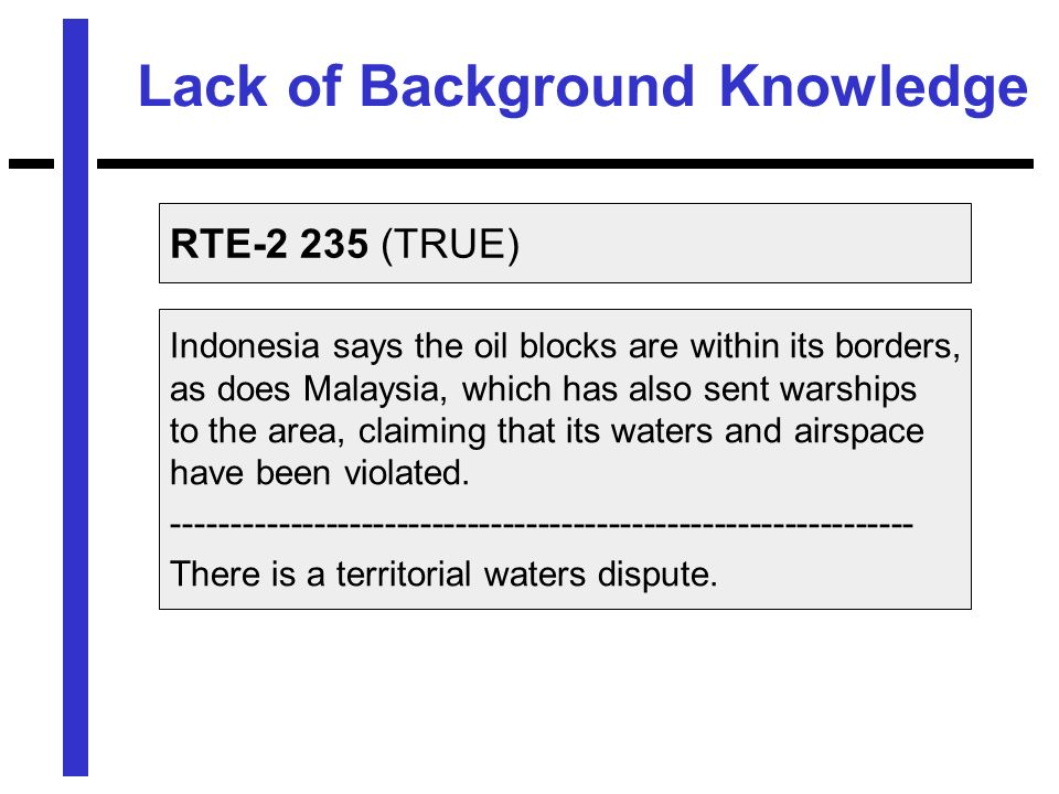 Lack of Background Knowledge RTE-2 235 (TRUE) Indonesia says the oil blocks are within its borders, as does Malaysia, which has also sent warships to the area, claiming that its waters and airspace have been violated.