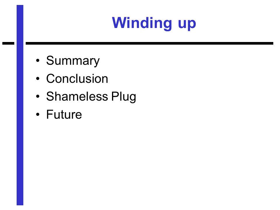 Winding up Summary Conclusion Shameless Plug Future
