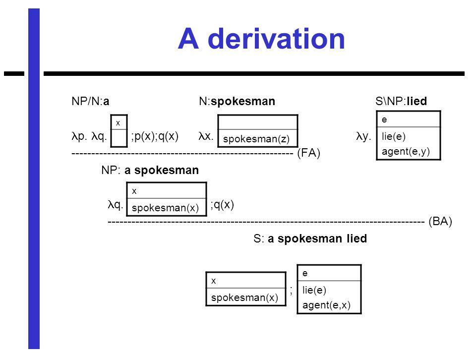 A derivation NP/N:a N:spokesman S\NP:lied p. q. ;p(x);q(x) x.