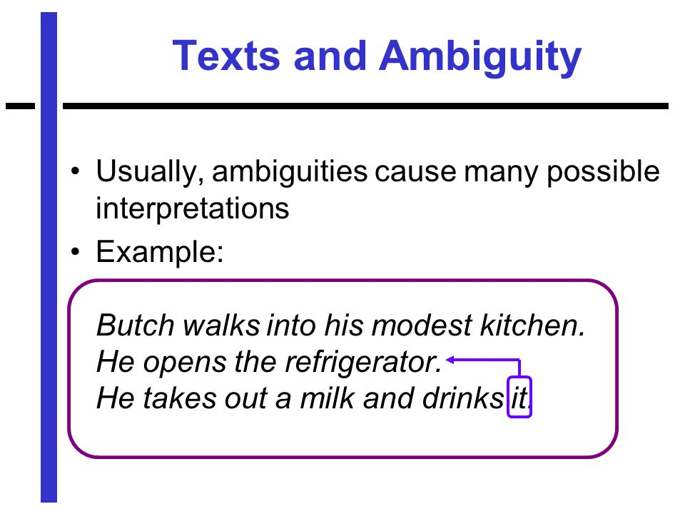 Texts and Ambiguity Usually, ambiguities cause many possible interpretations Example: Butch walks into his modest kitchen.