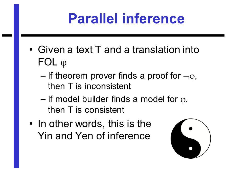 Parallel inference Given a text T and a translation into FOL –If theorem prover finds a proof for, then T is inconsistent –If model builder finds a model for, then T is consistent In other words, this is the Yin and Yen of inference