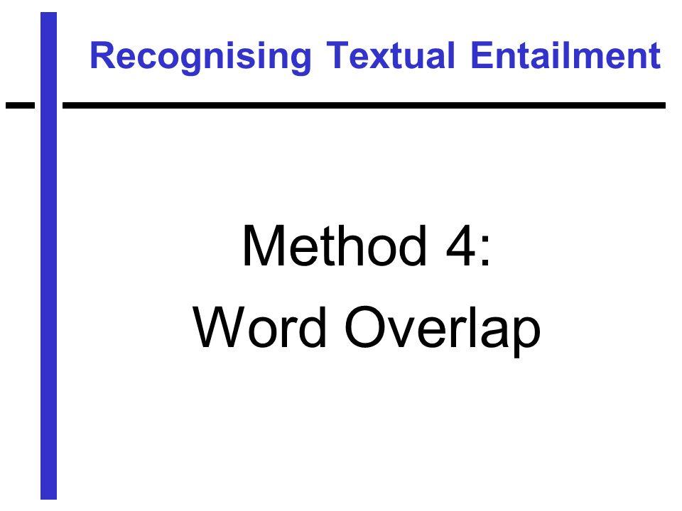 Recognising Textual Entailment Method 4: Word Overlap