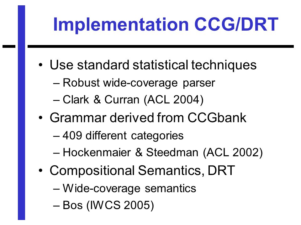 Implementation CCG/DRT Use standard statistical techniques –Robust wide-coverage parser –Clark & Curran (ACL 2004) Grammar derived from CCGbank –409 different categories –Hockenmaier & Steedman (ACL 2002) Compositional Semantics, DRT –Wide-coverage semantics –Bos (IWCS 2005)
