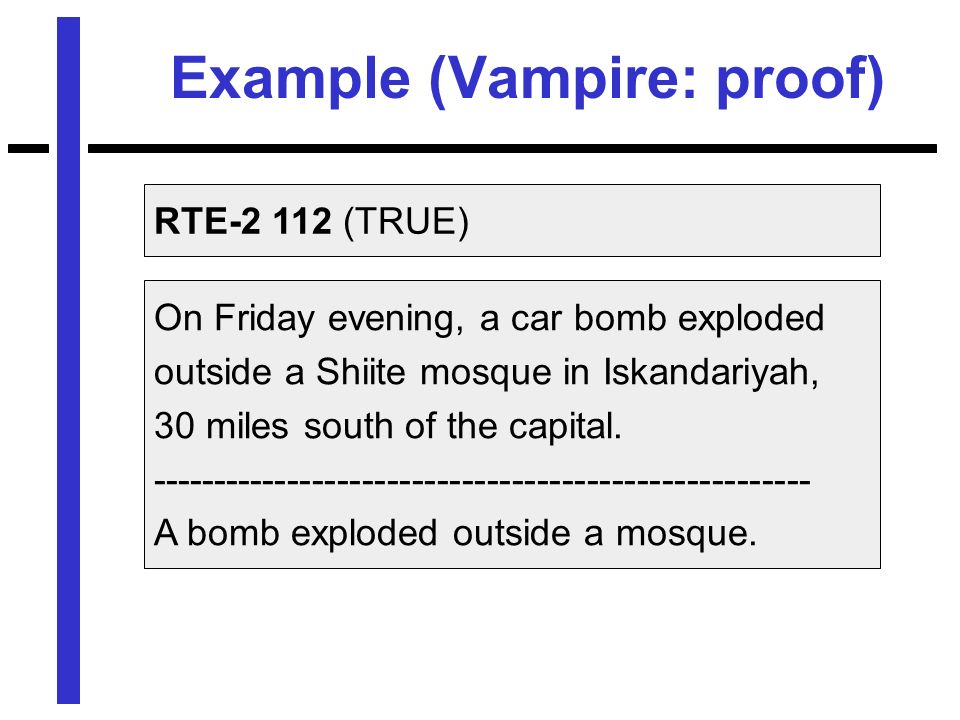 Example (Vampire: proof) On Friday evening, a car bomb exploded outside a Shiite mosque in Iskandariyah, 30 miles south of the capital.