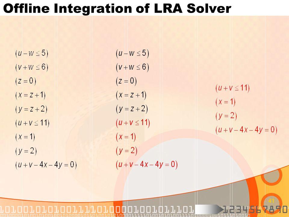 1234567890 41 Offline Integration of LRA Solver