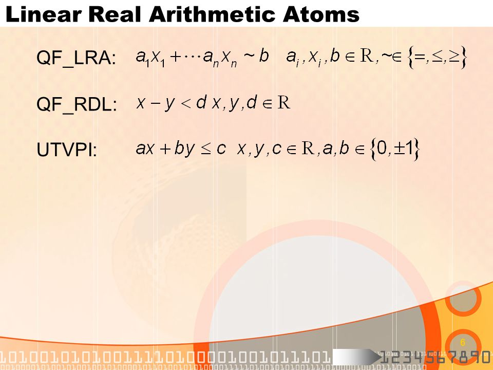 1234567890 6 Linear Real Arithmetic Atoms QF_LRA: QF_RDL: UTVPI: