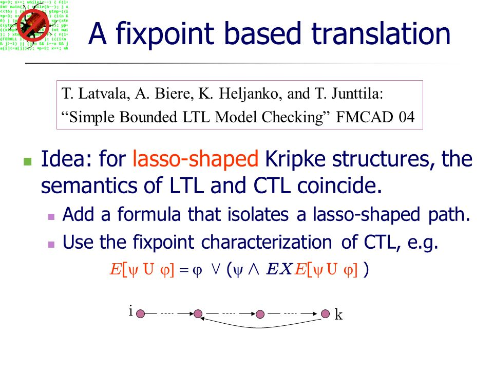 A fixpoint based translation Idea: for lasso-shaped Kripke structures, the semantics of LTL and CTL coincide.